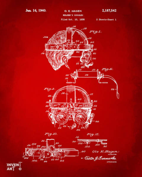 Punk Digital Art - 1940 Welders Goggles Patent Artwork Red by Nikki Marie Smith