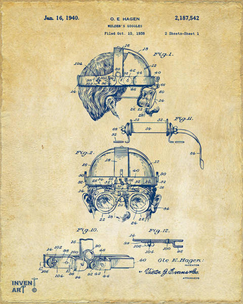 Punk Digital Art - 1940 Welders Goggles Patent Artwork Vintage by Nikki Marie Smith