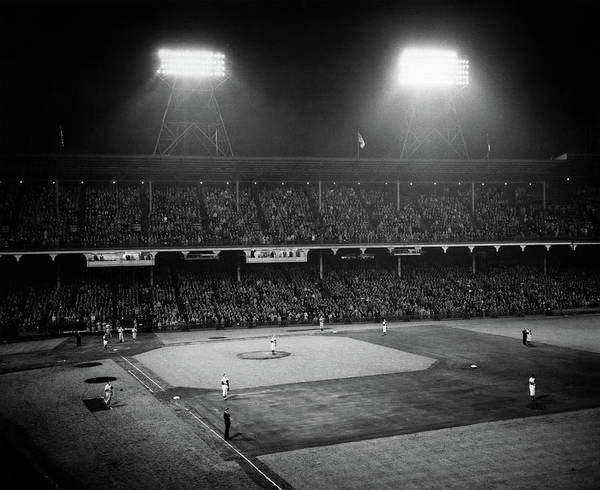 Brooklyn Dodgers Photograph - 1940s 1947 Baseball Night Game by Vintage Images