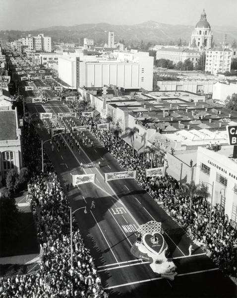 Rose Bowl Photograph - 1940s 1950s Aerial View Tournament by Vintage Images