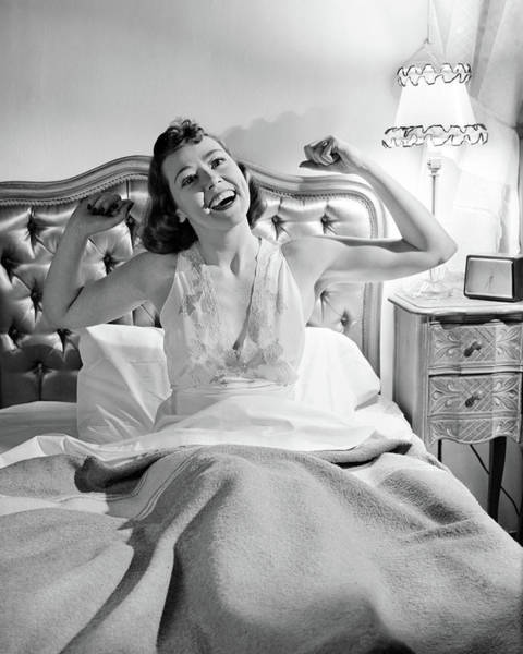 Wake Up Photograph - 1940s 1950s Smiling Woman In Bed Waking by Vintage Images
