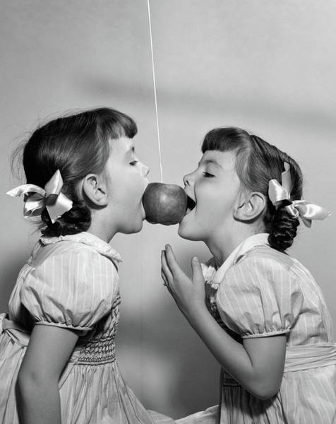Similar Photograph - 1940s 1950s Twin Girls Trying To Eat by Vintage Images