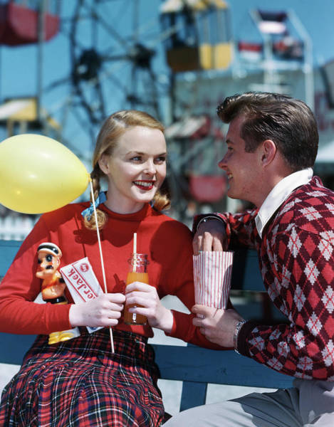 Wall Art - Photograph - 1940s 1950s Young Couple At Amusement by Vintage Images