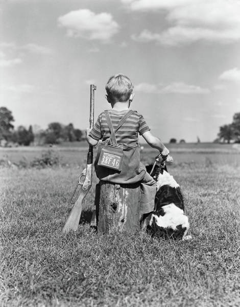 Space Gun Photograph - 1940s Back View Of Boy Wearing Hunting by Vintage Images