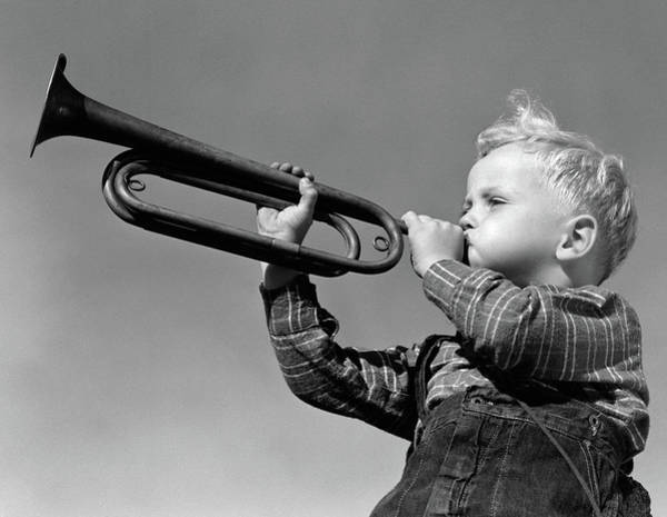 Wake Up Photograph - 1940s Boy Blowing Bugle Outdoor by Vintage Images