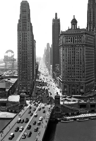 Edifice Photograph - 1940s Downtown Skyline Michigan Avenue by Vintage Images