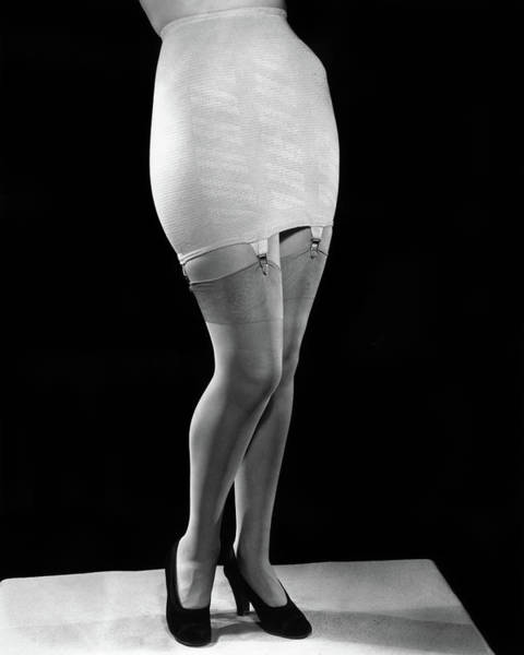 Garter Photograph - 1940s Fashion Woman From Waist by Vintage Images