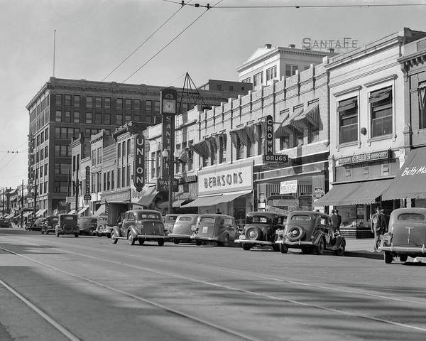 Topeka Wall Art - Photograph - 1940s Kansas Street Shopping District by Vintage Images