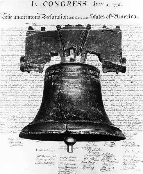 1776 Painting - 1940s Liberty Bell Superimposed by Vintage Images