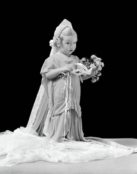 Wedding Bouquet Photograph - 1940s Little Blond Girl In Oversized by Vintage Images