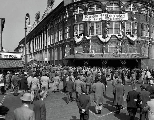 Wall Art - Photograph - 1940s October 1947 Dodger Baseball Fans by Vintage Images
