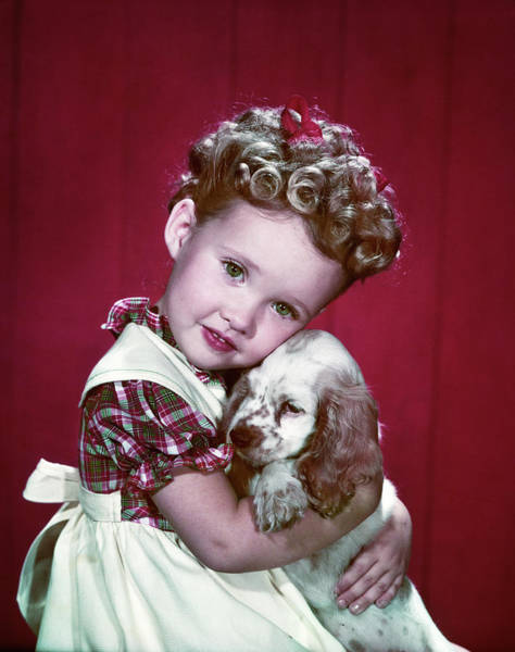 Cocker Spaniel Photograph - 1940s Portrait Girl Wearing Plaid Dress by Animal Images