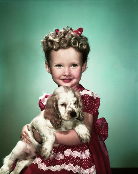 Cocker Spaniel Photograph - 1940s Portrait Smiling Girl Wearing Red by Animal Images