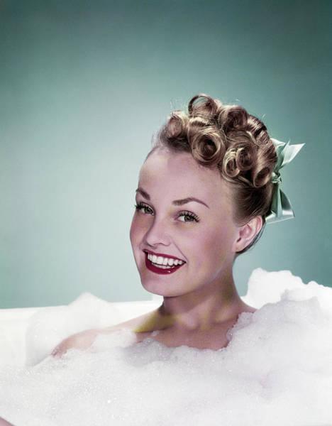 Bubble Bath Photograph - 1940s Portrait Smiling Teen Girl by Vintage Images
