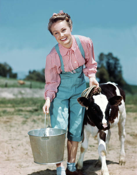 Milk Farm Photograph - 1940s Smiling Blonde Woman Wearing by Vintage Images