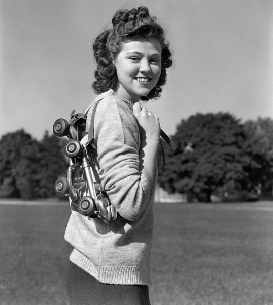 Self Confidence Photograph - 1940s Smiling Brunette Teenage Girl by Vintage Images