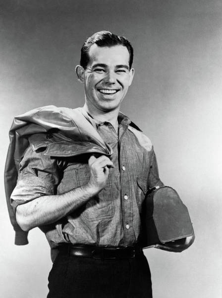 Wall Art - Photograph - 1940s Smiling Man In Work Clothes by Vintage Images