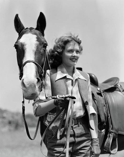 Girl And Horse Photograph - 1940s Smiling Teenage Girl Wearing by Vintage Images