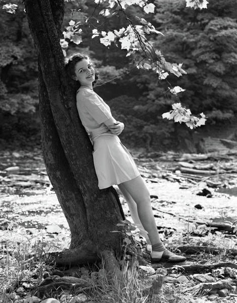 Wall Art - Photograph - 1940s Smiling Young Woman Wearing Short by Vintage Images