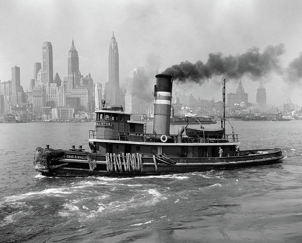Steam Boat Photograph - 1940s Steam Engine Tugboat On Hudson by Vintage Images
