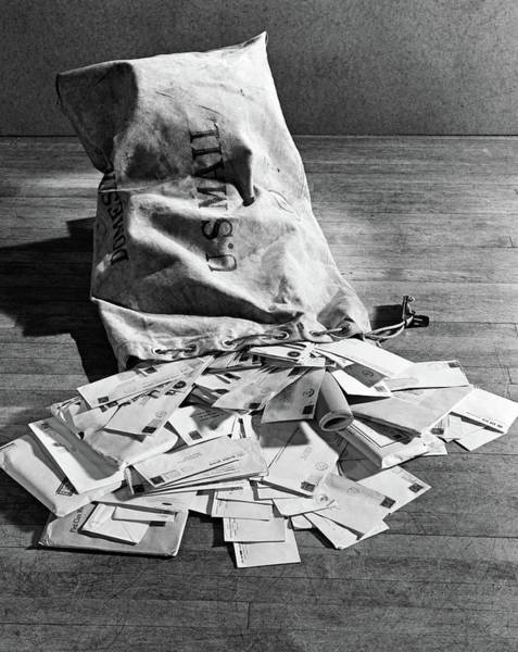 Hands Of Time Photograph - 1940s Still Life Of Full Mail Bag by Vintage Images