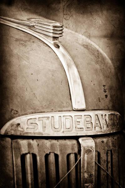 Studebaker Photograph - 1940's Studebaker Truck Hood Ornament - Emblem by Jill Reger