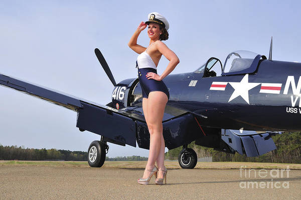 Photograph - 1940s Style Navy Pin-up Girl Posing by Christian Kieffer