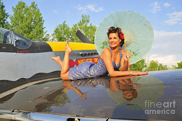 Photograph - 1940s Style Pin-up Girl With Parasol by Christian Kieffer