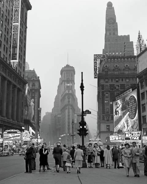 Wall Art - Photograph - 1940s Times Square At Twilight Night by Vintage Images