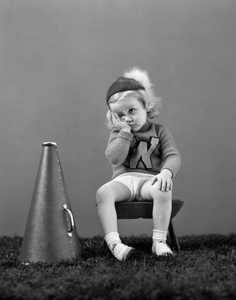 Wall Art - Photograph - 1940s Unhappy Little Girl Cheerleader by Vintage Images