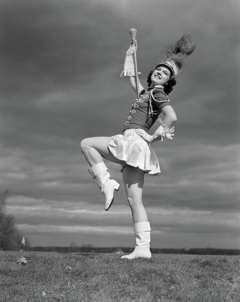 High School Photograph - 1940s Woman Drum Major In Majorette by Vintage Images