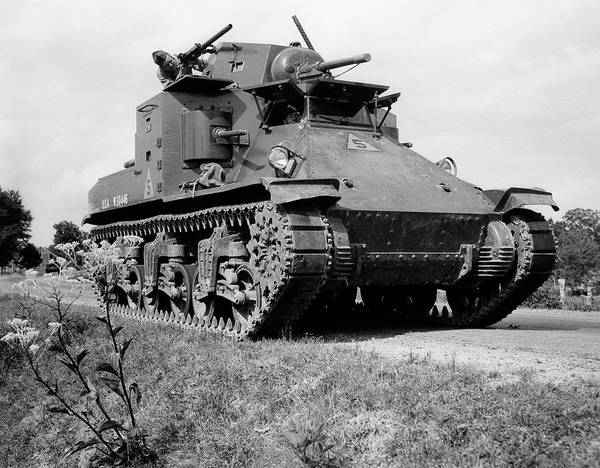 Space Gun Photograph - 1940s World War II Era Us Army Tank One by Vintage Images