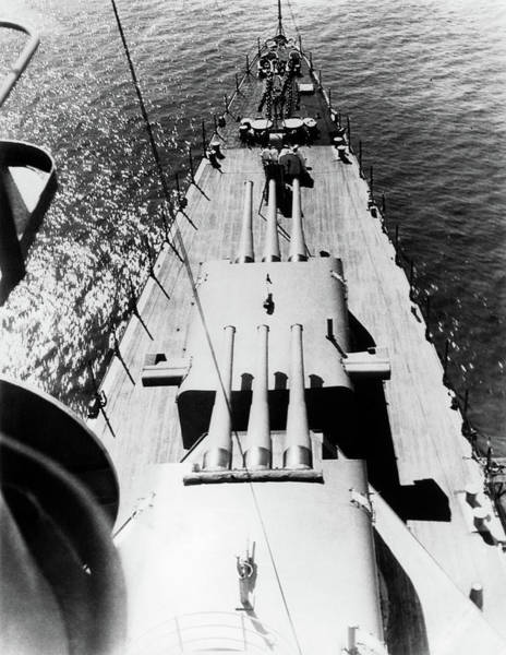 Space Gun Photograph - 1940s Wwii Us Navy Ship Cruiser Bow by Vintage Images