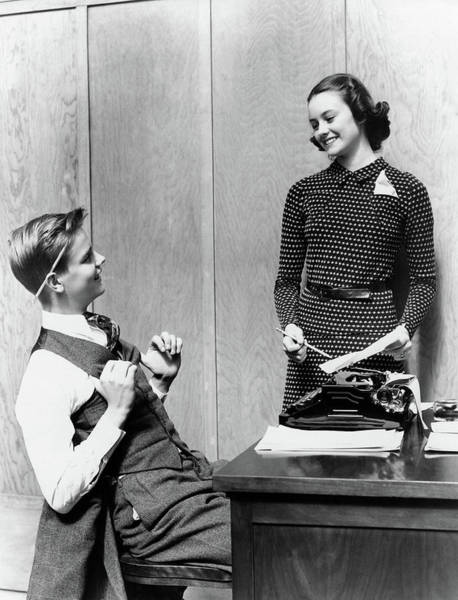 Paper Dress Photograph - 1940s Young Teenage Couple Boy At Desk by Vintage Images