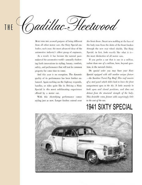 The Specials Drawing - 1941 Cadillac Fleetwood Sedan Vintage Ad by Jack Pumphrey