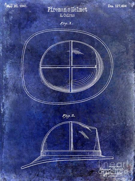 Firemen Photograph - 1941 Firemans Helmet Patent Drawing Blue by Jon Neidert