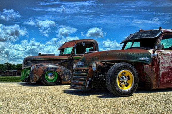 Photograph - 1941 Ford Pickup And 1948 Gmc Pickup Truck Rat Rods by Tim McCullough
