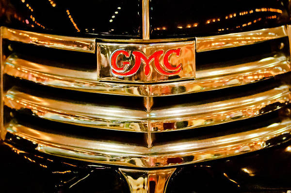 Photograph - 1941 Gmc Suburban Woody Wagon Grille Emblem by Jill Reger