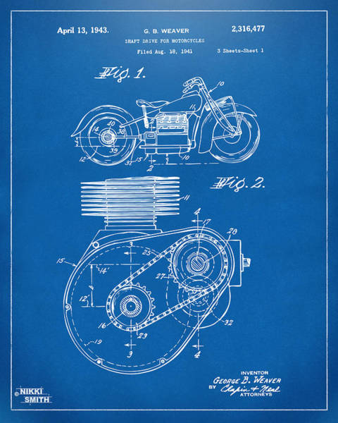 Wall Art - Digital Art - 1941 Indian Motorcycle Patent Artwork - Blueprint by Nikki Marie Smith