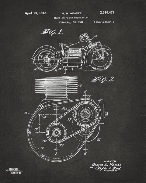 Wall Art - Digital Art - 1941 Indian Motorcycle Patent Artwork - Gray by Nikki Marie Smith