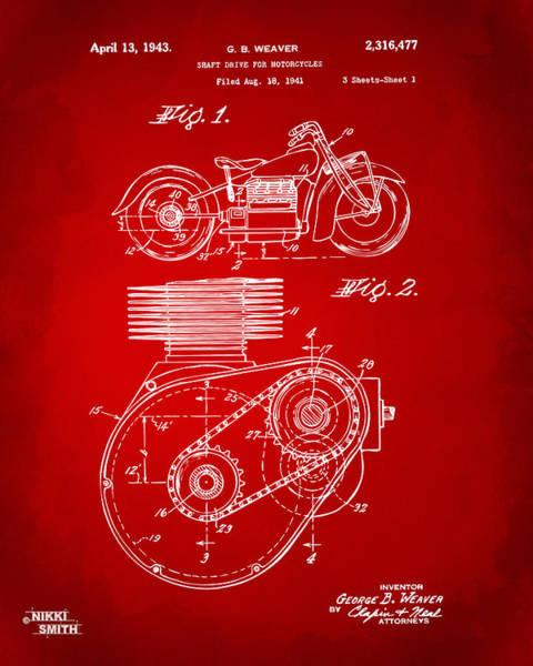 Wall Art - Digital Art - 1941 Indian Motorcycle Patent Artwork - Red by Nikki Marie Smith