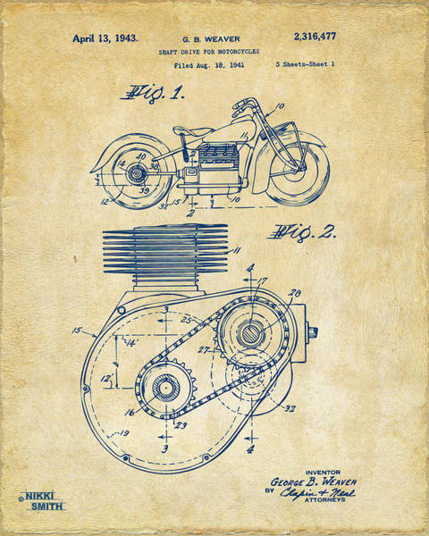 Wall Art - Digital Art - 1941 Indian Motorcycle Patent Artwork - Vintage by Nikki Marie Smith