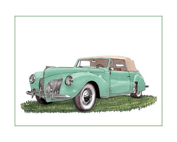 American Car Drawing - 1941 Lincoln V-12 Continental by Jack Pumphrey