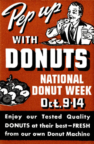 Doughnut Painting - 1941 Pep Up With Donuts by Historic Image
