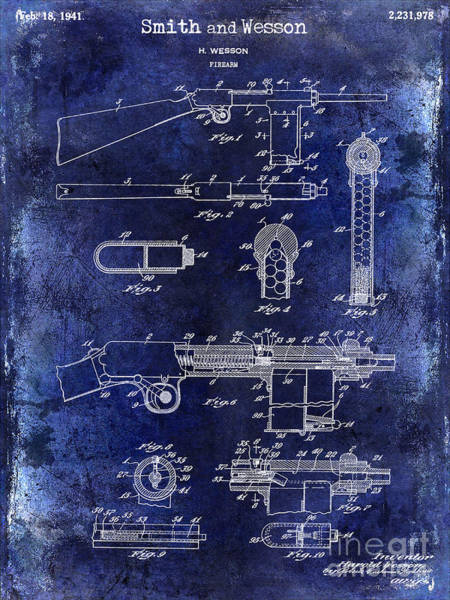 Wesson Photograph - 1941 Smith And Wesson Firearm Patent Drawing Blue by Jon Neidert