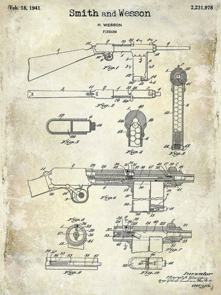 Wesson Photograph - 1941 Smith And Wesson Firearm Patent Drawing  by Jon Neidert