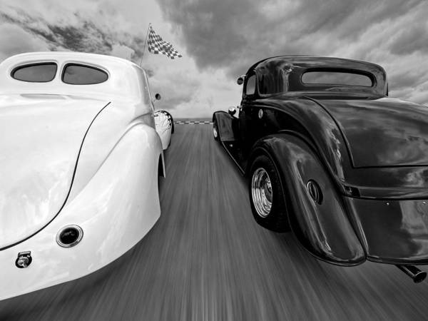 Photograph - 1941 Willys Vs 1934 Ford Coupe In Black And White by Gill Billington