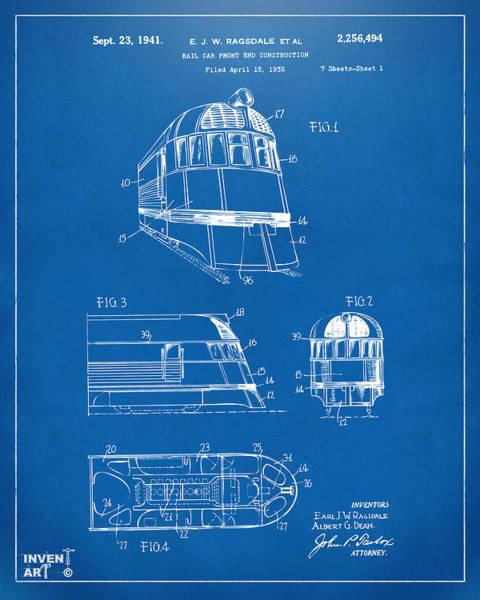 Caboose Wall Art - Digital Art - 1941 Zephyr Train Patent Blueprint by Nikki Marie Smith