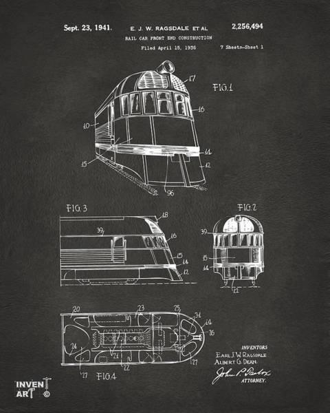 Caboose Wall Art - Digital Art - 1941 Zephyr Train Patent Gray by Nikki Marie Smith