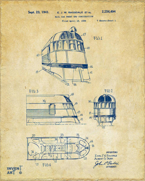 Caboose Wall Art - Digital Art - 1941 Zephyr Train Patent Vintage by Nikki Marie Smith